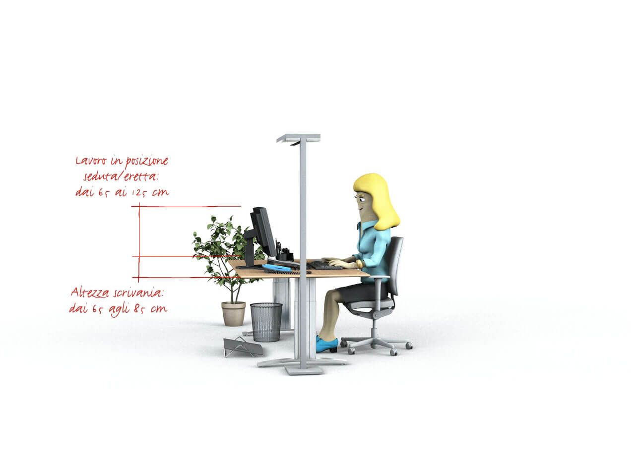 Altezza Banco Di Lavoro Ergonomia : Altezza scrivania. scrivania altezza regolabile bianca e nera xcm